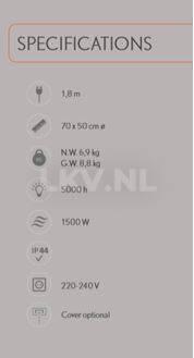 Hotspot terrasverwarmer tafelmodel - specificaties
