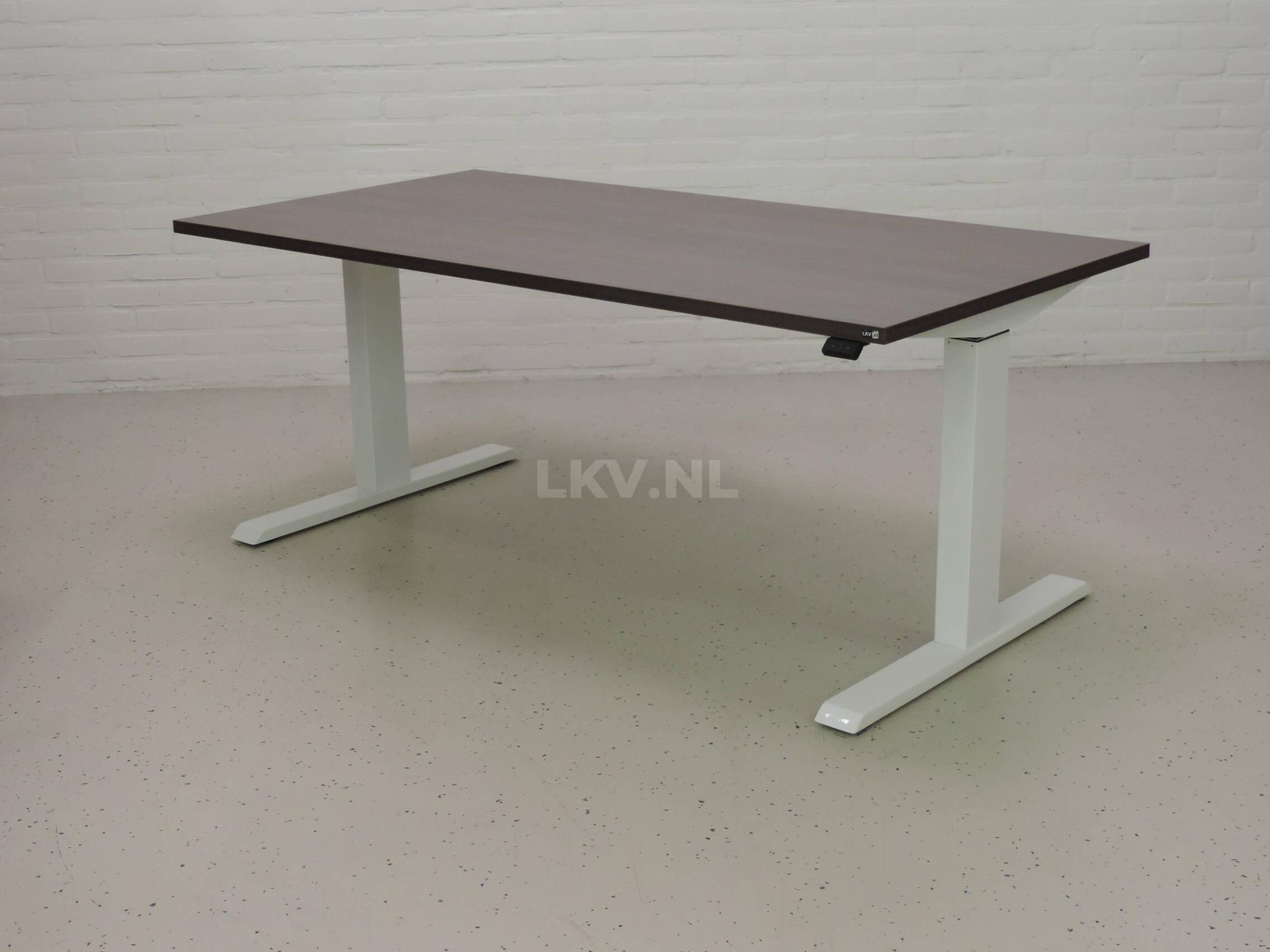 Zit-sta bureau GT-SF met wit frame en eiken donker blad - laagste stand
